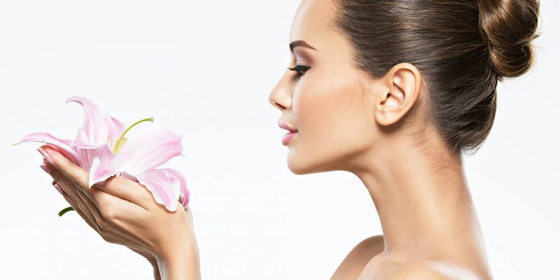 Woman flower beauty skin care